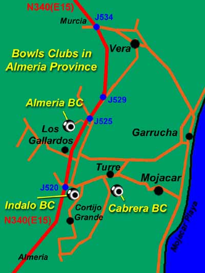 Map Of Spain Almeria.Almeria Bowls Map Four Active Clubs Almeria Spain Info