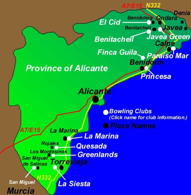 Bowls Map Alicante to see where the Cubs are situated Spain Info