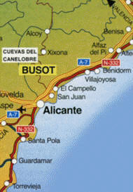 busot-map Hotels Costa Blanca Hotels local