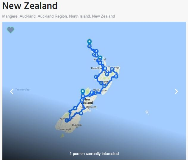 New Zealand map motorbike tour