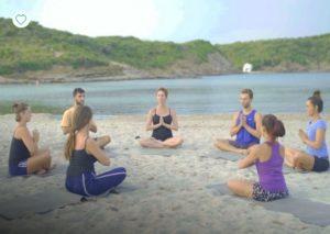 yoga beach scene