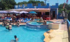 Hillside bar and pool